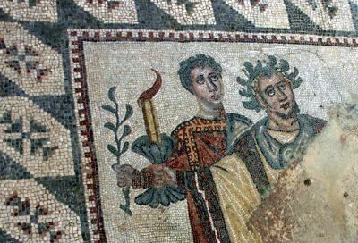 """Mozaikos fragmente """"Kristaus Advento laukimas"""". Villa Romana del Casale (pradėta statyti IV a.)."""